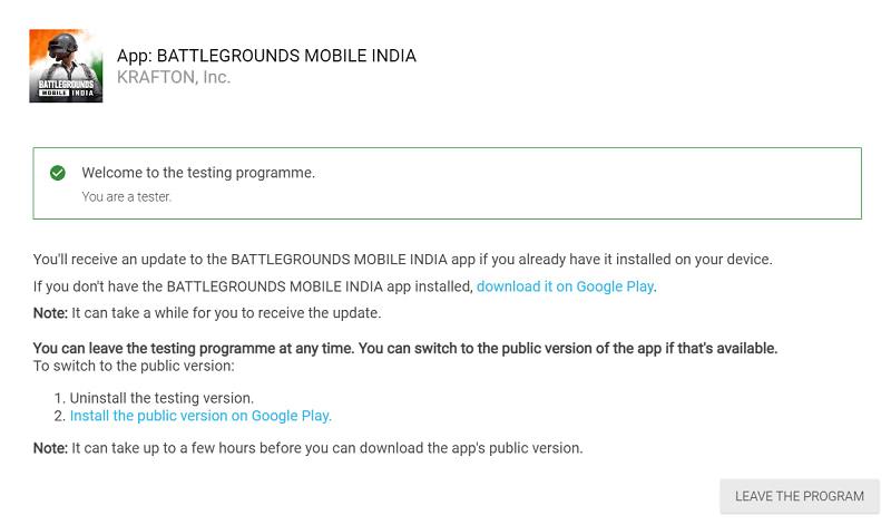 battlegrounds mobile india tester beta